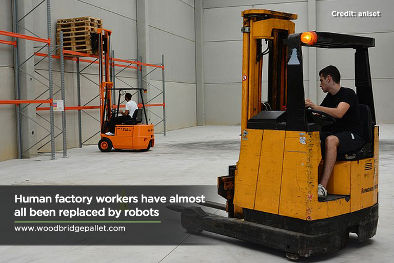 Human factory workers have almost all been replaced by robots